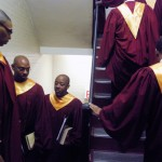 Choir Men Wlakinhg in Up stairwell